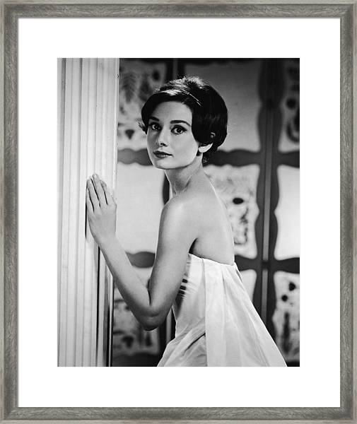 Portrait Of Audrey Hepburn Framed Print by Hulton Archive