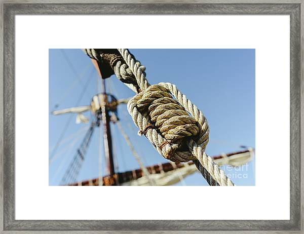 Rigging And Ropes On An Old Sailing Ship To Sail In Summer. Framed Print