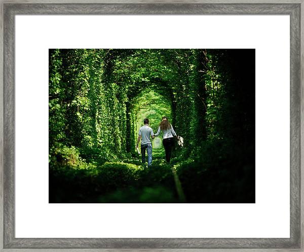 The Tunnel Of Love In Western Ukraine Framed Print