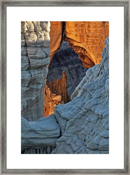 Unique Formations At Sunrise, Coal Framed Print by Adam Jones