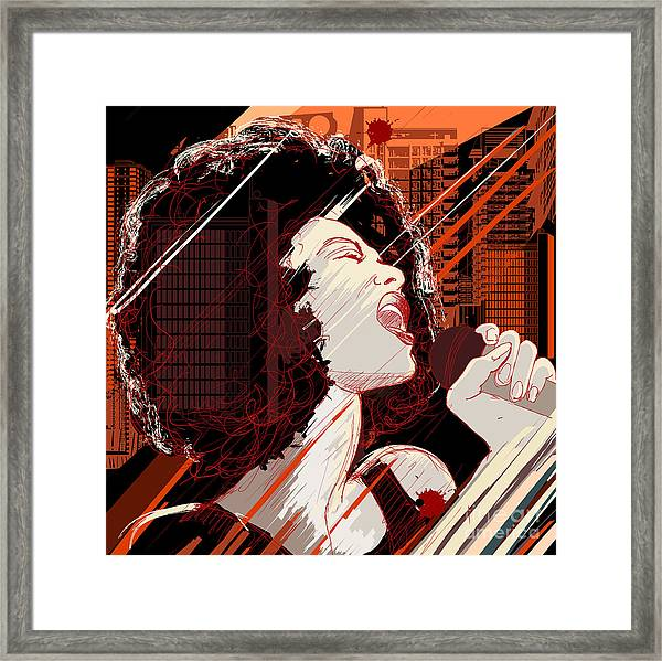 Vector Illustration Of An Afro American Framed Print