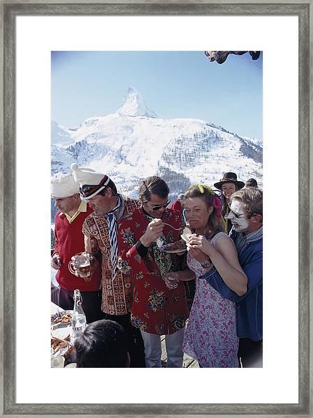 Zermatt Skiing Framed Print