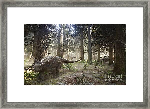 3d Rendering Of A Herd Of Sauropelta Framed Print