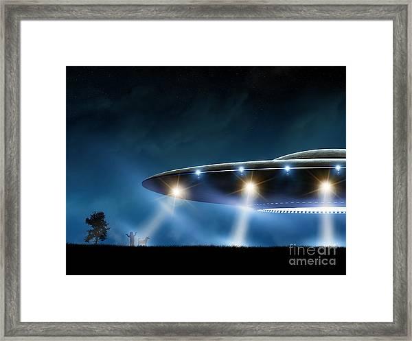 3d Rendering Of Flying Saucer Ufo On Framed Print