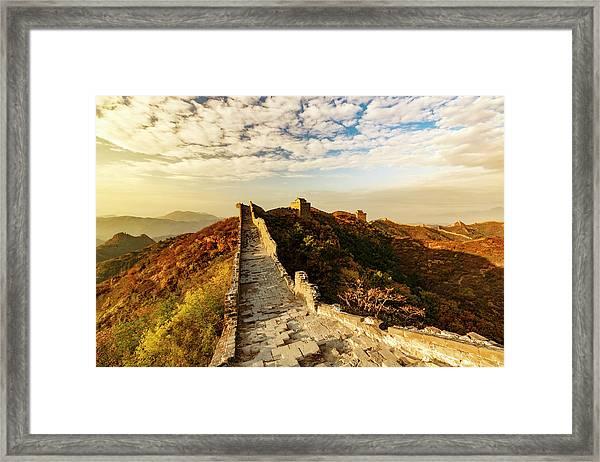 Great Wall Of China And Jinshanling Framed Print by Adam Jones