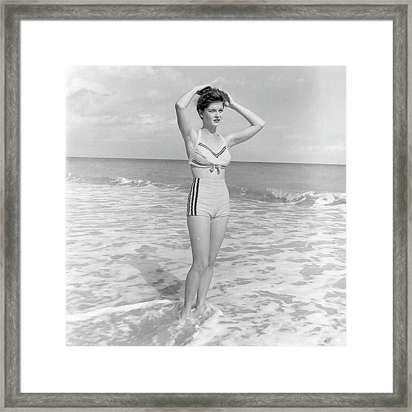 Model Posing On Beach In Two Piece Framed Print
