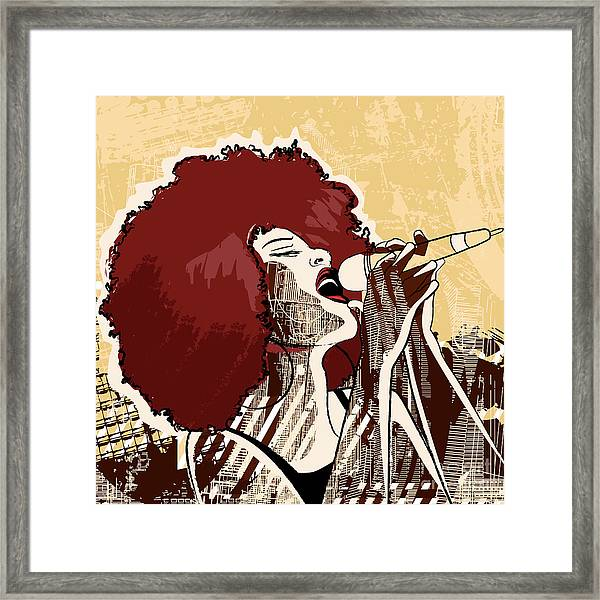 Vector Illustration Of An Afro American Framed Print by Isaxar