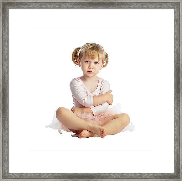 Isolated Female Child With Tutu Framed Print by Gualtiero Boffi