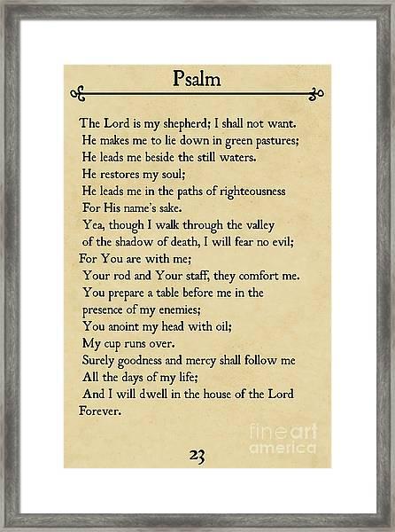 Psalm 23-bible Verse Wall Art Collection Framed Print