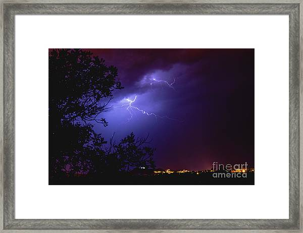 Rays In A Night Storm With Light And Clouds. Framed Print