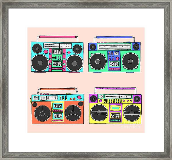 80s Boomboxes Framed Print