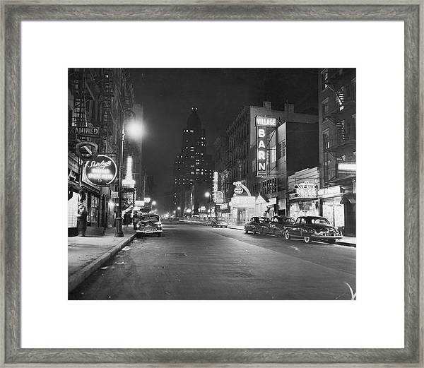 8th Street At Night, 1950 Framed Print