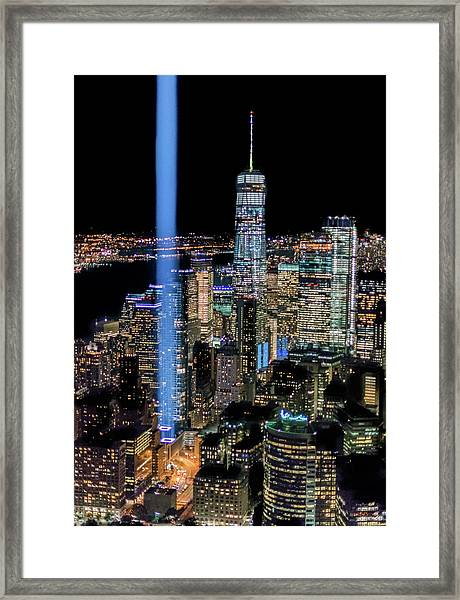 911 Lights Framed Print