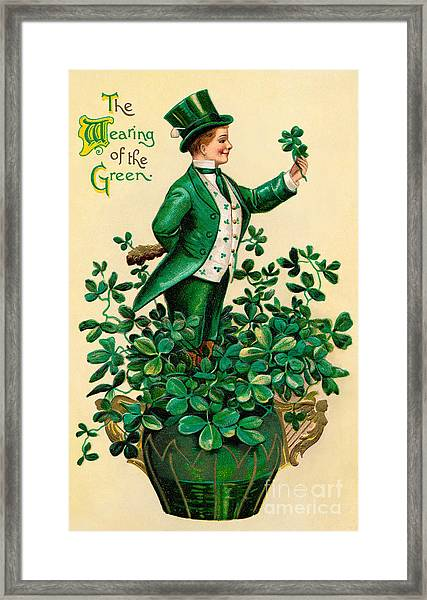 A 1910 Vintage St. Patricks Day Framed Print