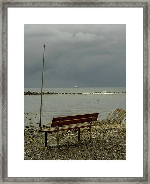 A Bench On Which To Expect, By The Sea Framed Print