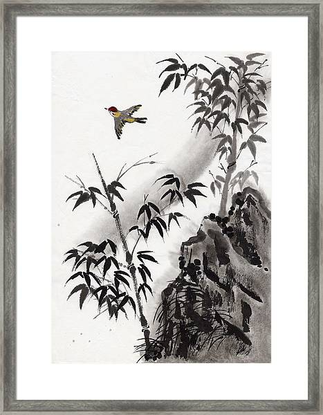 A Bird And Bamboo Leaves, Ink Painting Framed Print