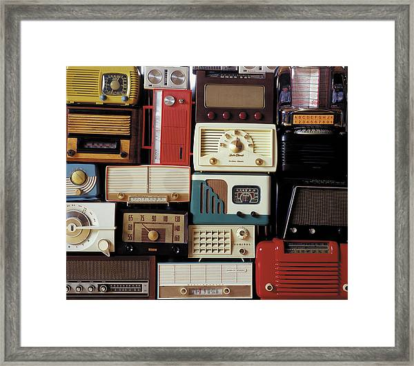 A Bunch Of Old Radios Piled Up, Old Framed Print