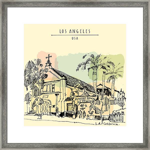 A Church In La, California. Vintage Framed Print