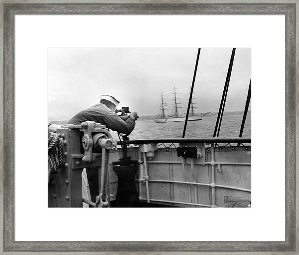A Coast Guard Cadet Takes A Sighting Of Framed Print