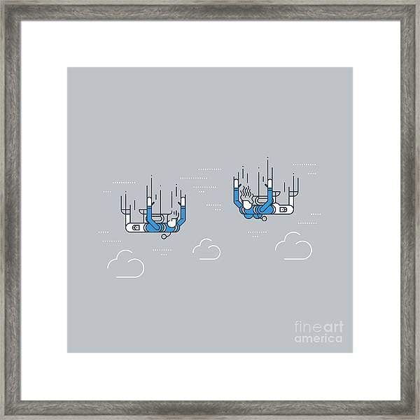 A Couple Of Skydivers. Extreme Sport Framed Print
