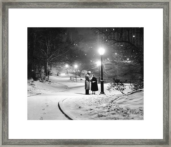 A Couple Pauses For A Cigarette In Framed Print