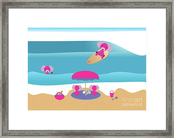 A Dog Family Surf Day Out Framed Print