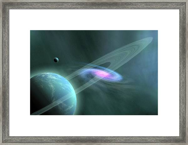 A Galaxy Swirls Near A Planet And Its Framed Print