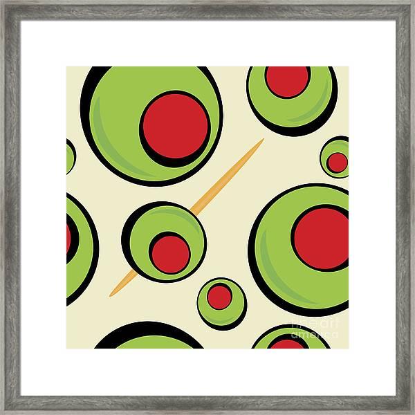 A Green Olives Pattern That Tiles Framed Print