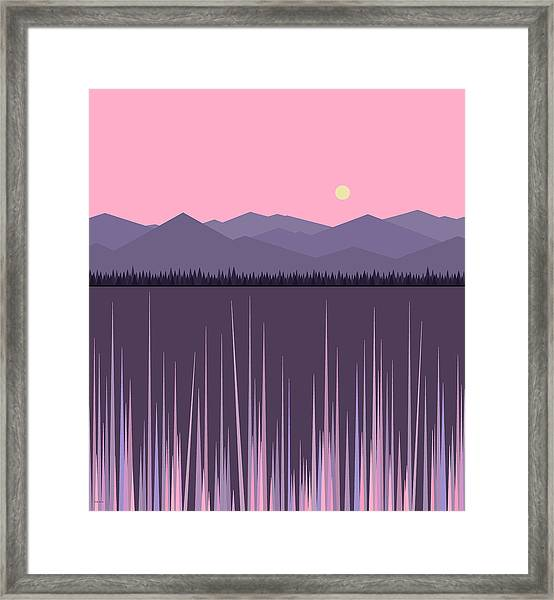 A Lake In The Mountains -  Pink Sky Framed Print