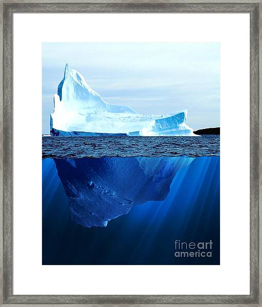 A Large Iceberg In The Cold Blue Cold Framed Print