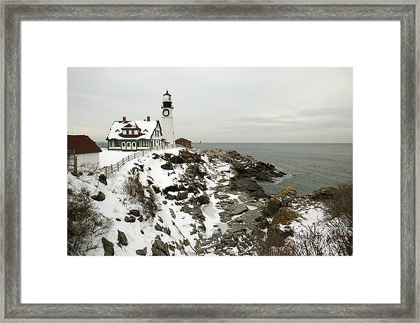 A Large Wreath Is Hung On Portland Head Framed Print by Allan Wood Photography