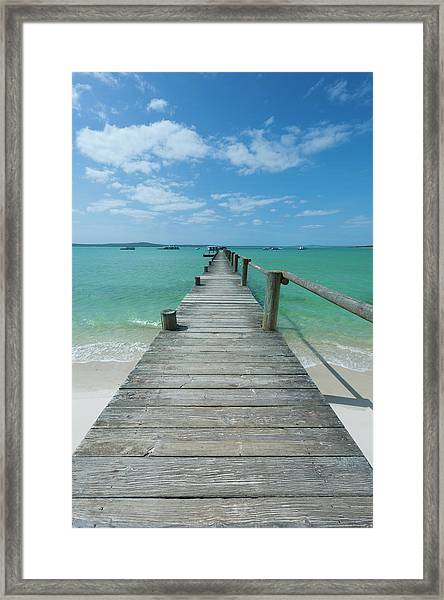 A Long Wooden Jetty At Churchhaven In Framed Print