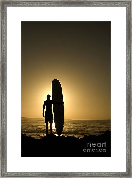 A Longboarder Watching He Waves At Framed Print
