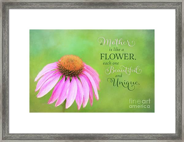 A Mother Is Lke A Flower Framed Print