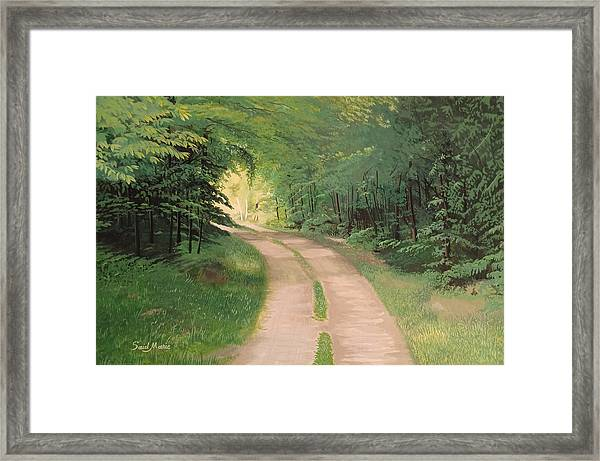 Framed Print featuring the painting A Road In The Forest by Said Marie