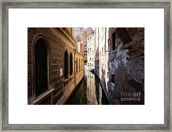 A Shadow In The Venetian Noon Narrow Canal Framed Print