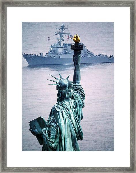 A Ship Sails Up A Foggy Hudson River Framed Print