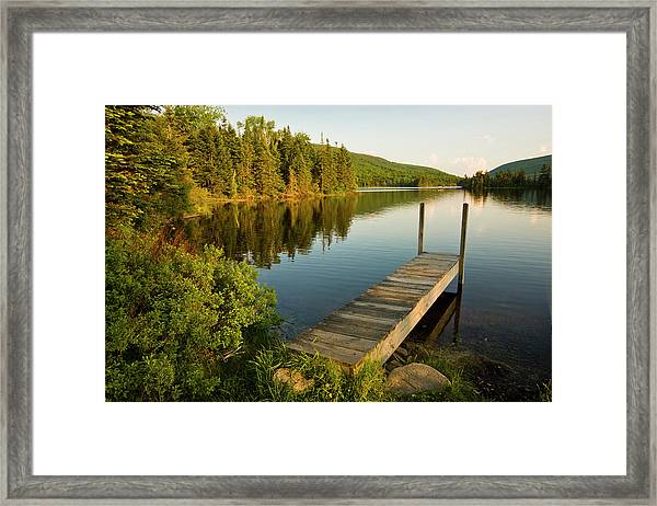 A Small Dock In Long Pond In White Framed Print