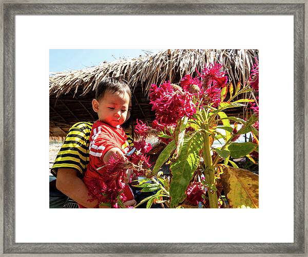 A Small Person With Reflected Flowers Framed Print