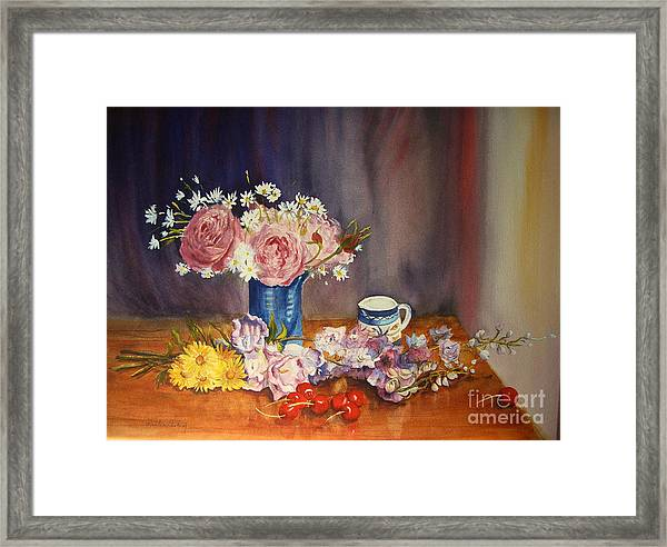 A Splash Of Blue, Watercolour Floral Framed Print