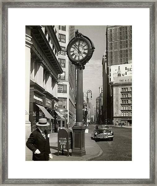 A Street Clock On Fifth Ave., Nyc Framed Print
