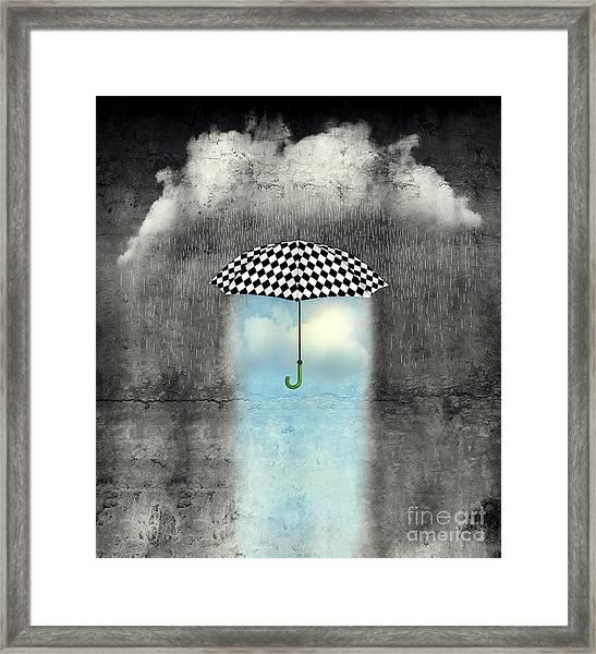 A Surreal Image Of An Umbrella Framed Print