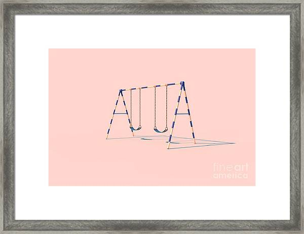 A Swingset In Sunlight On A Pink Framed Print