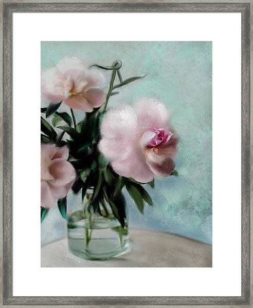 A Vase Of Peonies Framed Print