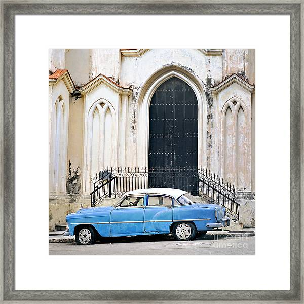 A View Of Classic American Old Car Framed Print by Roxana Gonzalez