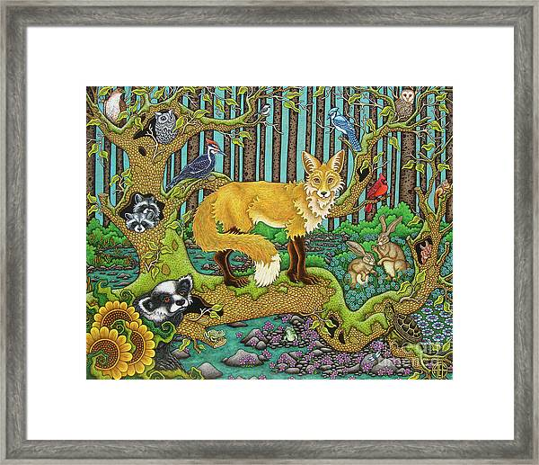A Vixen In The Forest Framed Print