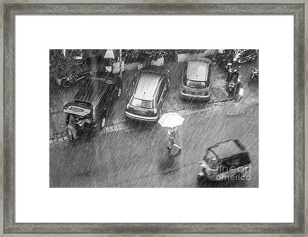 A Woman Rushes To Cross The Street Framed Print