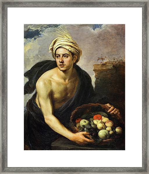 A Young Man With A Basket Of Fruit, 1650 Framed Print