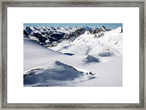 A Young Skier, A Freerider Makes A Turn Framed Print