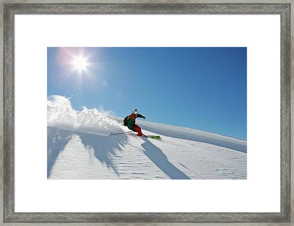 A Young Skier, A Freerider Making A Framed Print